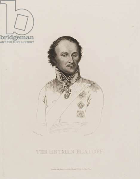 Portrait of Russian Don Cossack General Hetman Matvei Platov, 1814 (etching)