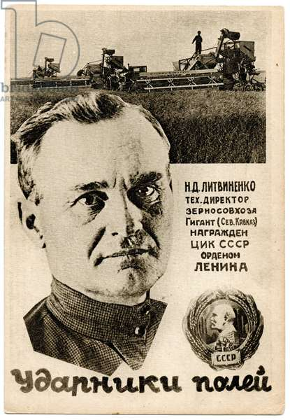 Shockworkers of the Five Year Plan: N.D.Litvinenko, Technical Director of the 'Gigant' State Grain Farm, c.1930