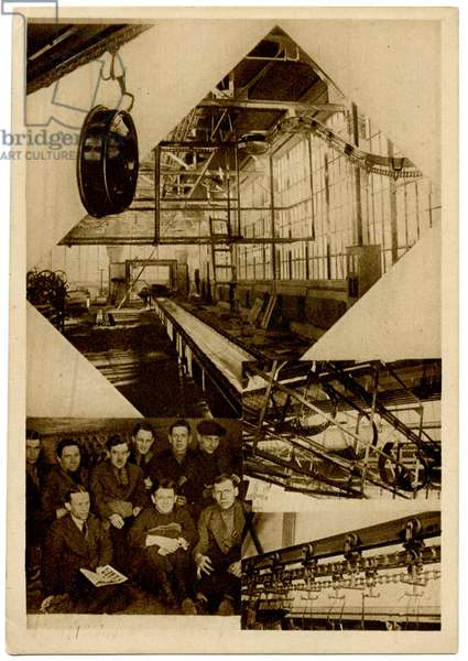 Transferal of Wheels by Conveyer at the Communist Youth International (KIM) Car Parts Factory in Moscow, c.1930