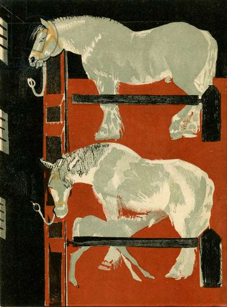 """Illustration from Soviet Children's Book written by Evgenii Svarts Titled """"The Cattle Yard"""" showing Horses and Foal, 1931"""