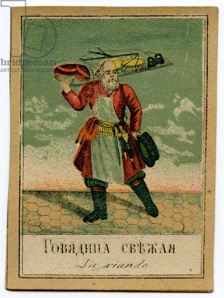 Lithographic Card Depicting a Tradesman in Saint Petersburg Selling Fresh Meat, 1860s