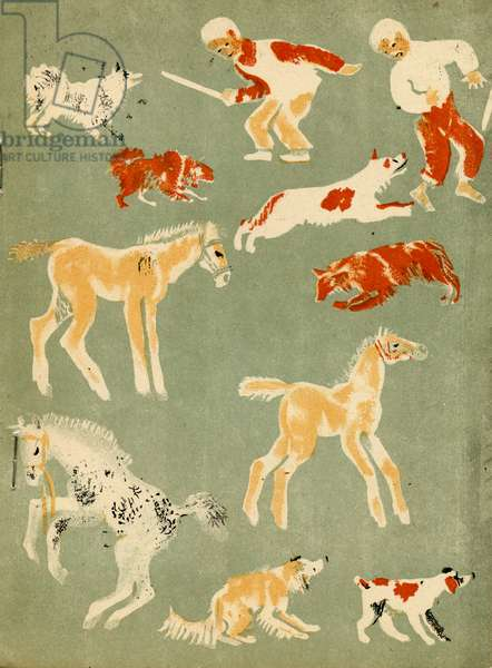 """Illustration from Soviet Children's Book written by Evgenii Svarts Titled """"The Cattle Yard"""" showing Children, Foals and Dogs, 1931"""