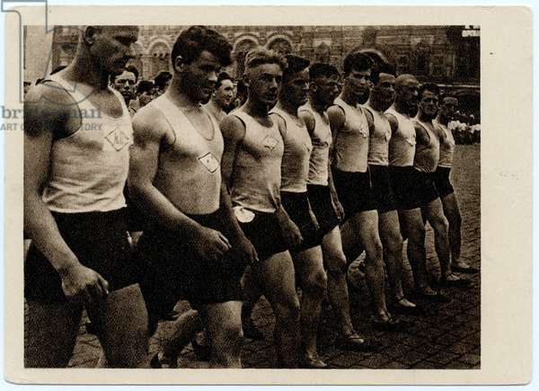 Soviet Postcard Depicting Parade of Sportsmen on Red Square, Moscow, 1932