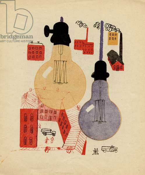 """Illustration depicting Light Bulbs and Factories from Soviet Children's Book written by B. Uralskii Titled: """"The Electrician"""", 1931"""