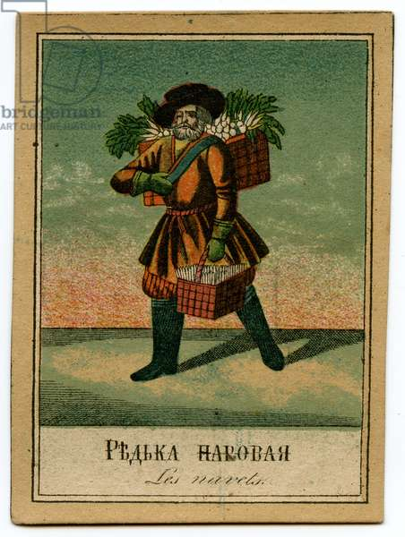 Lithographic Card Depicting a Tradesman in Saint Petersburg Selling Radishes, 1860s
