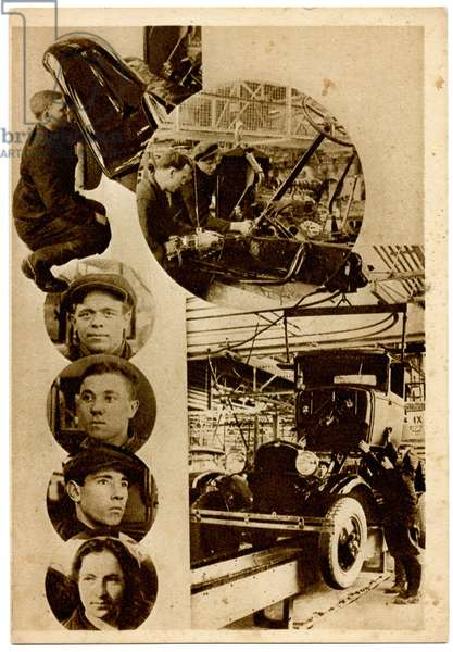 Russian Photomontage Postcard Showing the Main Conveyor Belt at the Communist Youth International (KIM) Car Parts Factory in Moscow, c.1930