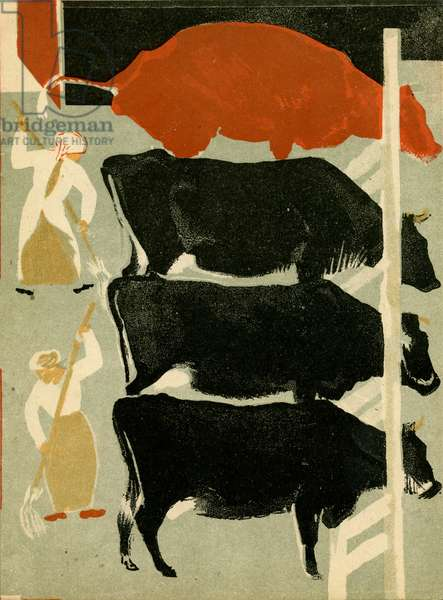 """Illustration from Soviet Children's Book written by Evgenii Svarts Titled """"The Cattle Yard"""" depicting Women Sweeping Up in Barn Housing Dairy Cows, 1931"""