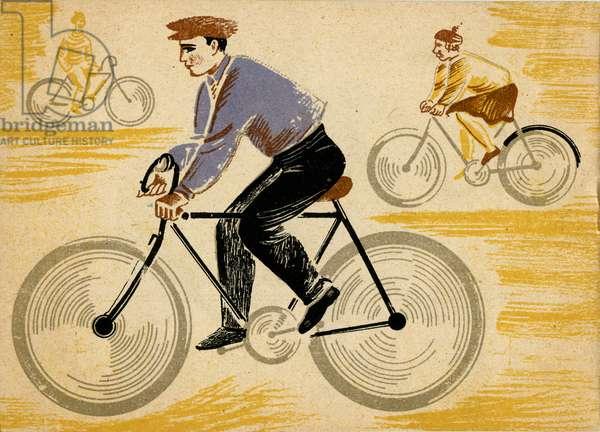 "Illustration in Ukrainian Children's Book ""Let's Go"" depicting Man on Bicycle, 1932"