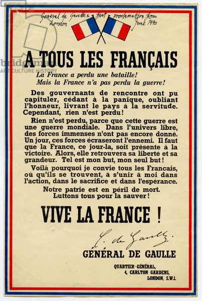 Leaflet reproducing Charles De Gaulle's Celebrated Appeal to the People of France to Continue the Fight Against Nazi Germany, 1940