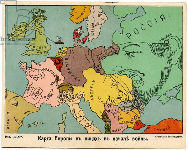 Russian Satirical Postcard Depicting Map of Europe in National Characteristics, 1914