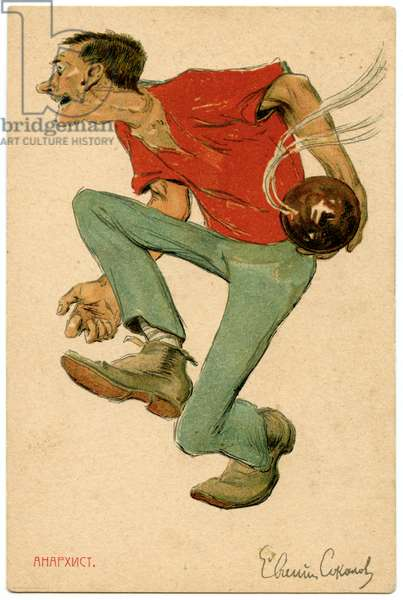 Russian Satirical Postcard From the 1905 Revolution Depicting an Anarchist, 1906