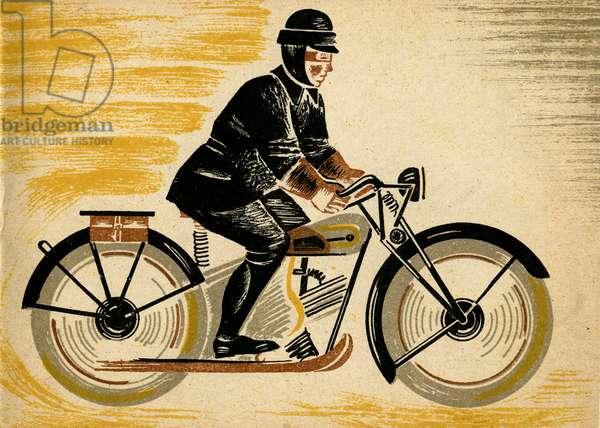 "Illustration in Ukrainian Children's Book ""Let's Go"" depicting Man on Motorcycle, 1932"