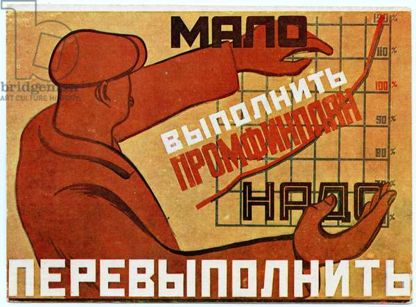 Soviet Propaganda Postcard Produced During the Five Year Plan, early 1930s