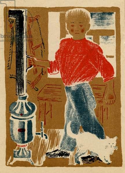 """Illustration from Soviet Children's Book written by Samuil Marshak Titled """"The Tinker"""" depicting Child Holding A Samovar Pipe, 1930"""