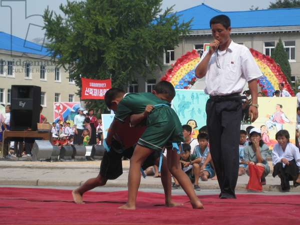Martial arts bout during celebrations of the 60th Anniversary of the founding of North Korea in Kaesong City, 2008 (photo)