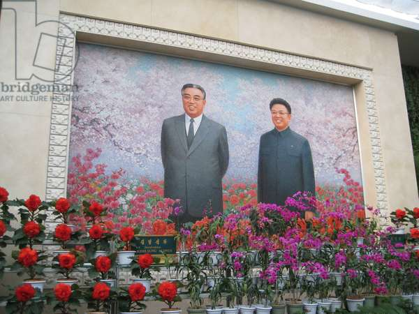 Mosaic in the Flower Exhibition Hall in Pyongyang depicting the North Korean leaders Kim Il-sung and Kim Jong-il, 2008 (photo)