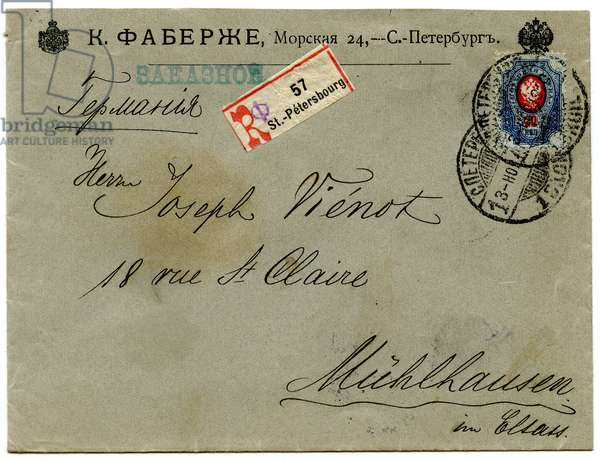 Franked Envelope sent by the Firm of Peter Carl Faberge to a Customer in Germany, 1910 (envelope)