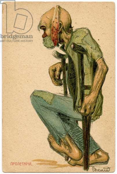 Russian Satirical Postcard From the 1905 Revolution Depicting a Proletarian Demonstrator. 1906