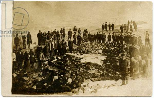Russian Postcard Recording the Aftermath of the Lena Goldfields Massacre, 1905