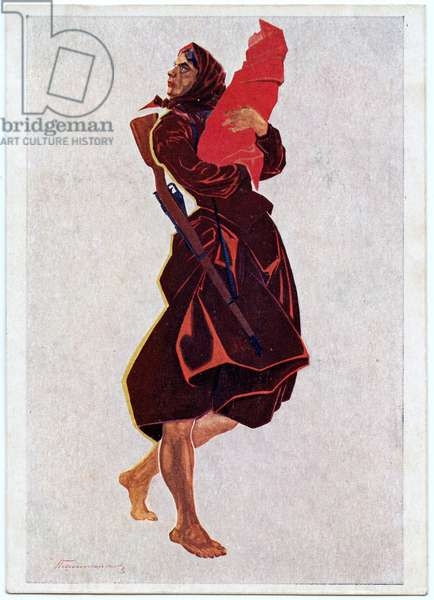 Soviet Postcard Depicting A Woman During The Civil War, late 1920s