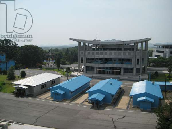 Huts in the Joint Security Area of the Korean Demilitarised Zone, as seen from the North Korean side, 2008 (photo)