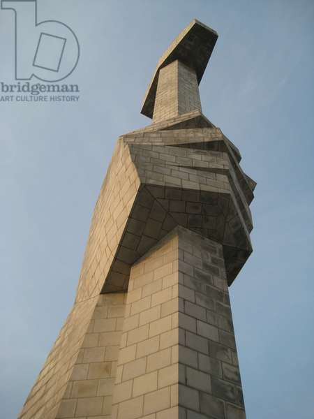 Close up of fist holding hammer on the Monument to the Party Founding in Pyongyang, 2008 (photo)