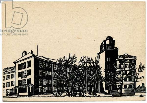 Soviet Postcard Depicting a School In The Narva Region Of Saint Petersburg, late 1920s