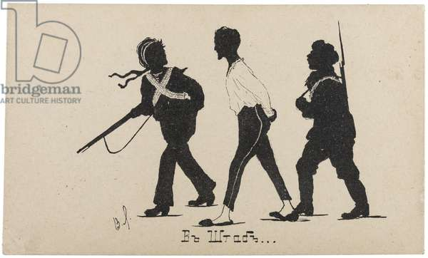 Ukrainian postcard depicting a well-dressed bourgeois man being led away by Bolshevik forces during the Russian Civil War, signed V.L., 1918 (postcard)