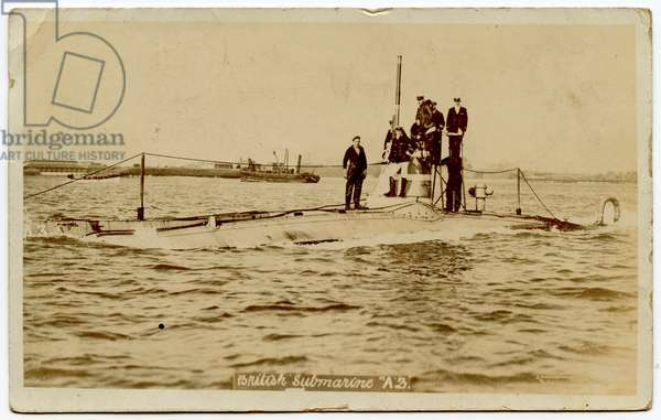 Photographic Postcard Depicting the British Navy Submarine A3, sent by then Lieutenant Francis Cromie, 1906