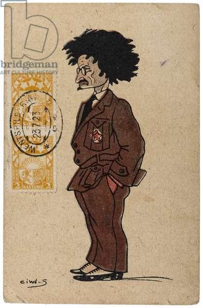 Anti-Soviet propaganda postcard satirising the Russian Revolutionary Leon Trotsky, signed 'ciwi-s', early 1920s