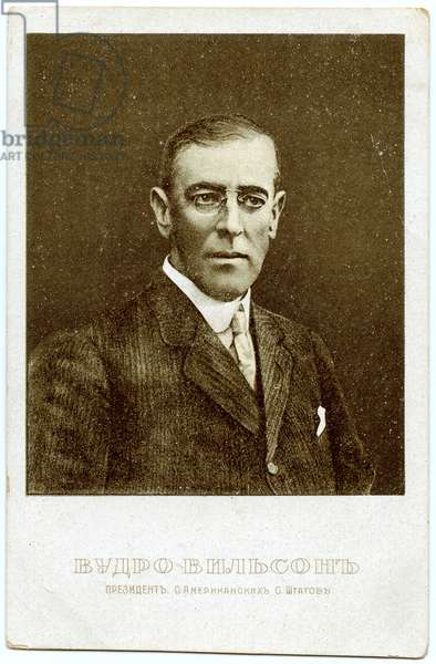 Russian Postcard Depicting US President Woodrow Wilson, 1917