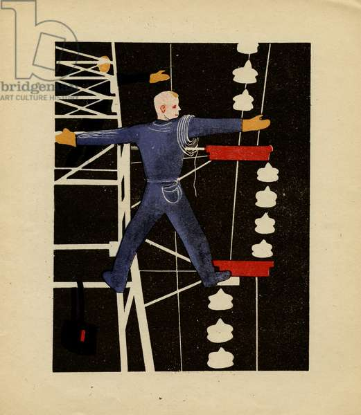 """Illustration depicting Men Repairing Electric Power Lines from Soviet Children's Book written by B. Uralskii Titled: """"The Electrician"""", 1931"""