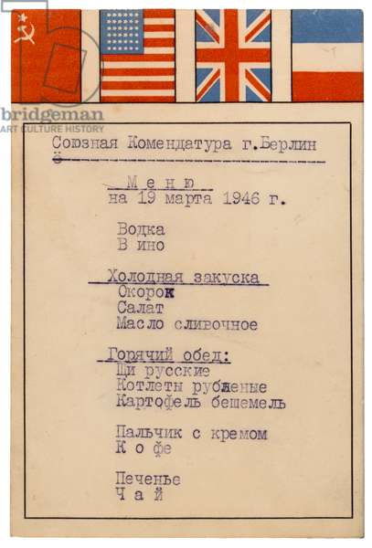 Menu for lunch held at Allied Komendatura in Berlin on 19 March 1946