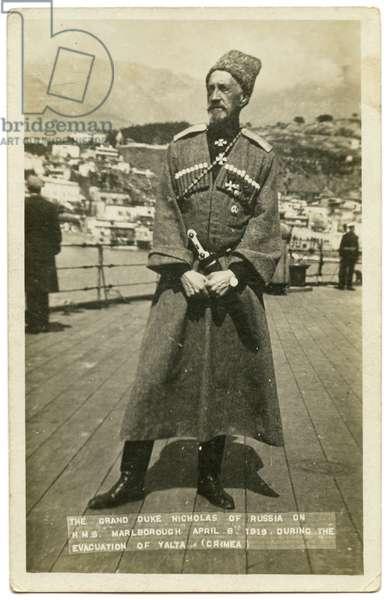 Postcard Depicting Grand Duke Nikolai Nikolaevich leaving Russia on board HMS Marlborough, 1919