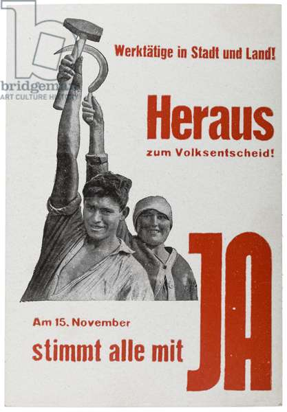 Russian postcard reproducing 1931 poster for the German Communist Party ahead of national vote on the dissolution of the Prussian Landtag, early 1930s