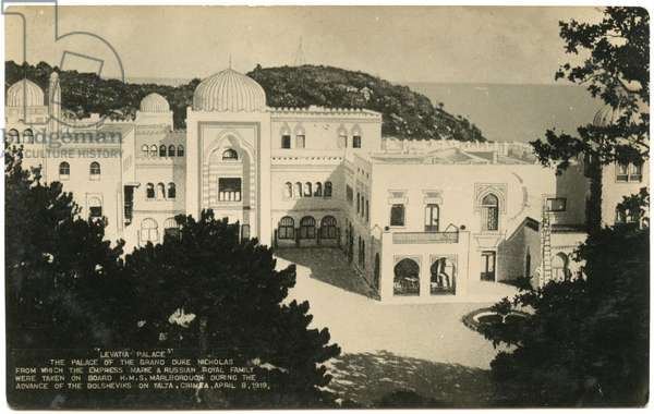 Postcard Depicting the Dulber Palace in Crimea during the Russian Civil War. 1920