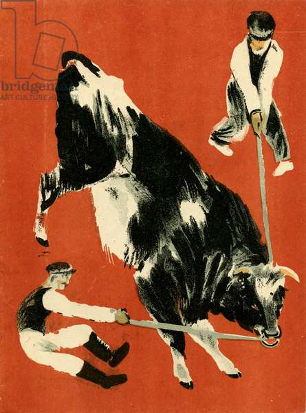 """Illustration from Soviet Children's Book written by Evgenii Svarts Titled """"The Cattle Yard"""" showing Men controlling Bull, 1931"""