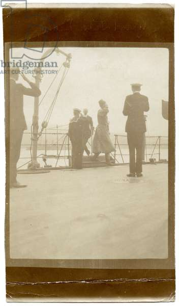 Grand Duke Nikolai Nikolaevich Coming Aboard H.M.S Lord Nelson in Yalta Port, After Leaving Russia For the Last Time, 1919 (b/w photo)