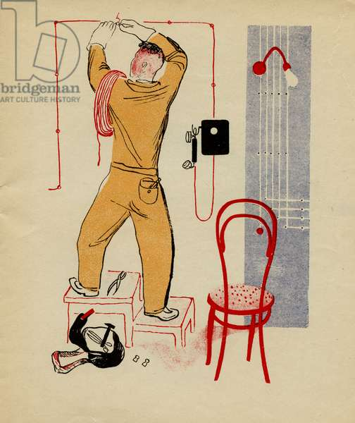 """Illustration depicting Man Repairing Electric Cable from Soviet Children's Book written by B. Uralskii Titled: """"The Electrician"""", 1931"""