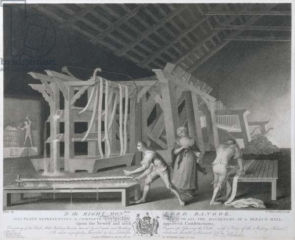 Perspective View of all the Machinery of a Bleach Mill, plate IX of 'The Linen Manufactory of Ireland', 1783 (mezzotint)