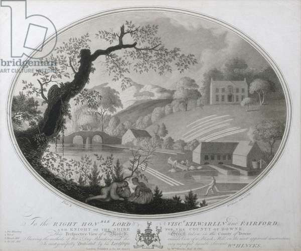 Perspective View of a Bleach Green taken in the County of Downe, plate X of 'The Linen Manufactory of Ireland', 1783 (mezzotint)