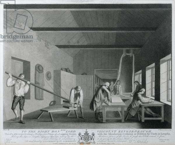 Perspective view of a Lapping Room with the Measuring, Crisping or Folding of the Cloth in Lengths, plate XI of 'The Linen Manufactory of Ireland;, 1783 (mezzotint)