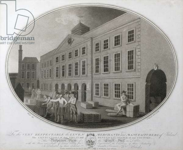 A Perspective View of the Linen Hall in Dublin, plate XII of 'The Linen Manufactory of Ireland', 1783 (mezzotint)