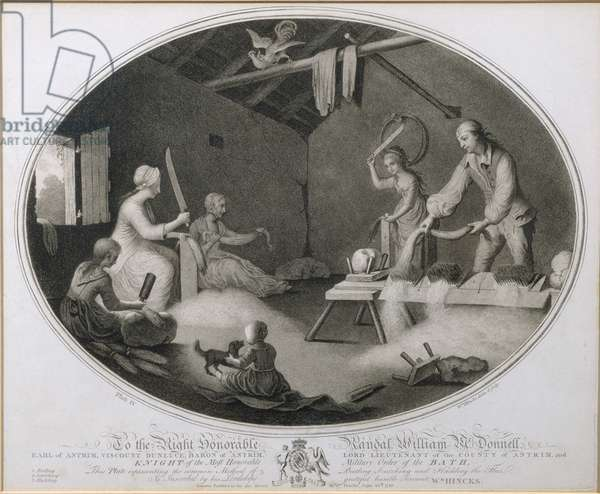 The Common Method of Beetling, Scutching and Hackling the Flax, plate IV of 'The Linen Manufactory of Ireland', Plate IV, 1783 (mezzotint)