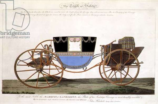 The Marquis of Landsdown's Coach of Safety, invented and patented by the artist, Longacre, London (engraving)