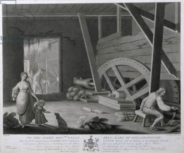 A Perspective View of a Scutch Mill with a Method of Breaking the Flax, Plate V of 'The Linen Manufactory of Ireland', 1783 (mezzotint)