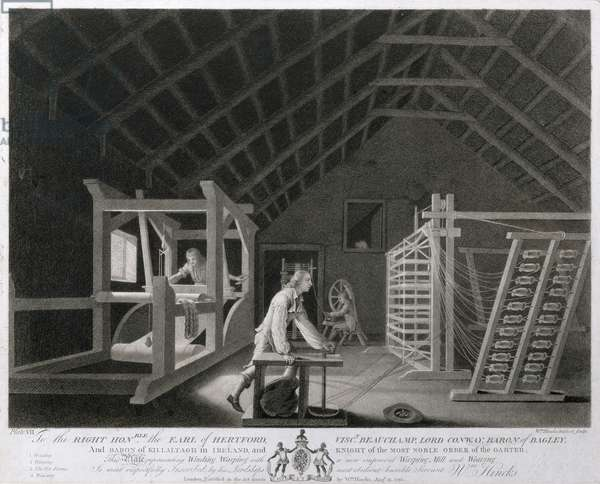 Winding, Warping with a New Improved Warping Mill and Weaving, plate VII of 'The Linen Manufactory of Ireland', 1783 (mezzotint)