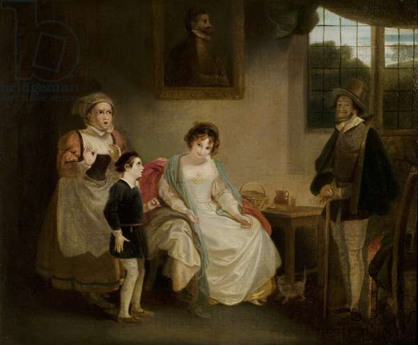 'The Merry Wives of Windsor', Act IV, Scene 1, Mistress Page, Mistress Quickly, Sir Hugh Evans and William (oil on canvas)