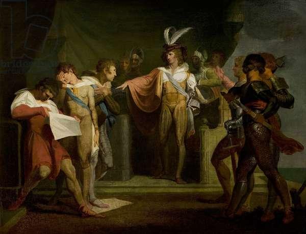 'Henry V', Act II, Scene 2, Henry V Discovering the Conspirators, 1780s (oil on panel)