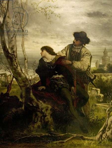 'Hamlet', Act V, Scene 2, Hamlet and Horatio, 1870 (oil on canvas)